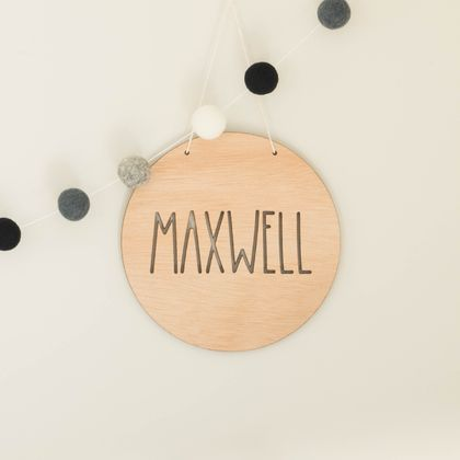Name Sign - 19cm, Wooden Name Sign