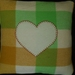 CREAM LOVE HEART ON LIME & ORANGE UPCYCLED BLANKET CUSHION COVER