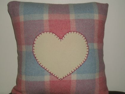 Cream Love Heart On Upcycled Dusky Blue Amp Pink Blanket