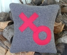 HUGS & KISSES ON VINTAGE RED-CROSS BLANKET CUSHION