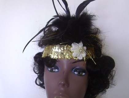 1920's Sequinned Flappper Headband - GOLD