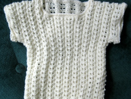 Baby Singlet Knitted In Natural 3 Ply Baby Wool Felt