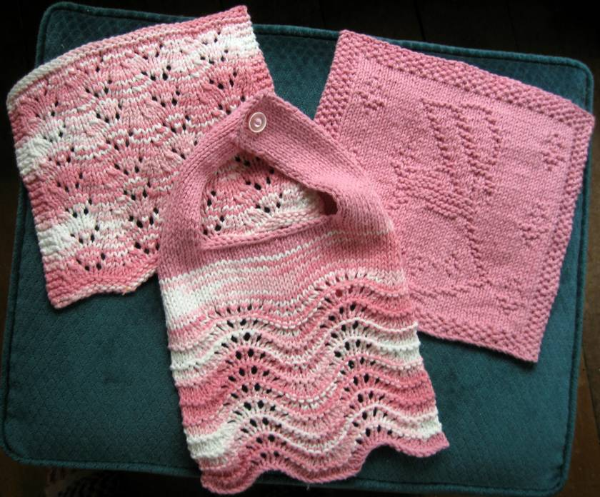 Girls bib and washcloth set.