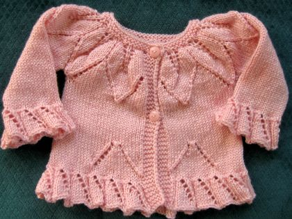 Fluted edged baby girl's cardigan