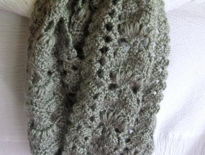 Crochet infinity scarf.