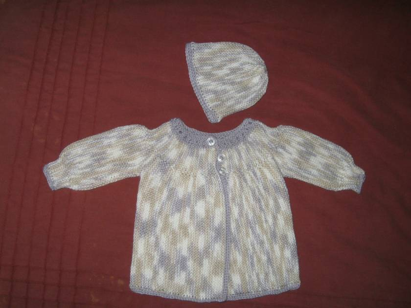 newborn to 3 months matinee jacket and beanie