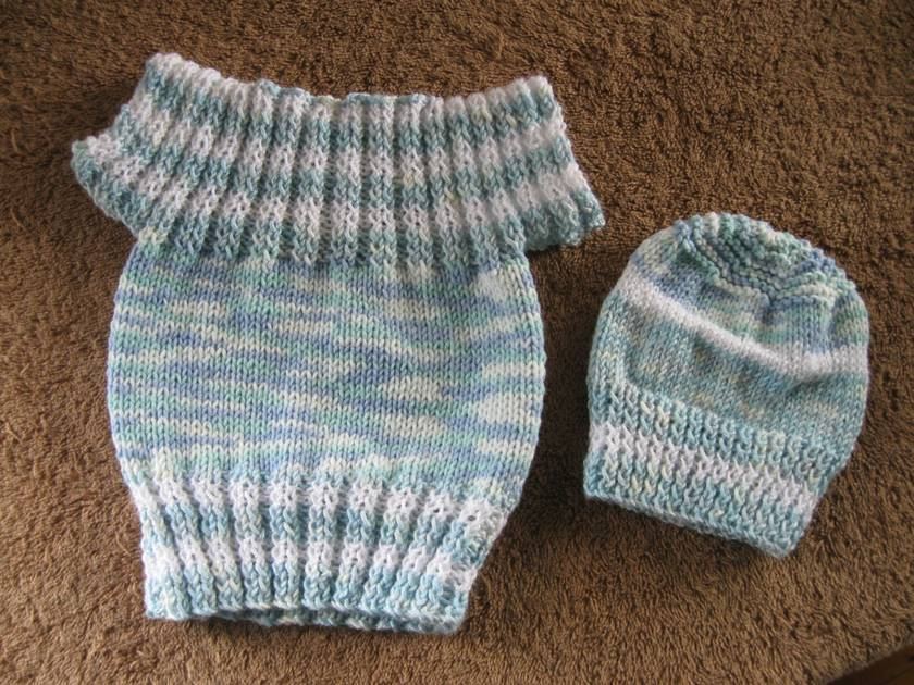 Top and beanie for a baby boy or girl
