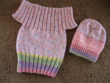 Pullover top and beanie for a baby girl