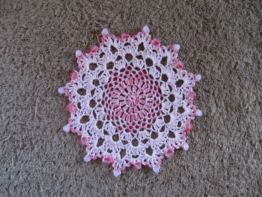 Beaded crochet doily or jug cover