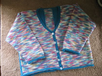 V-necked multi coloured 4 ply cardigan