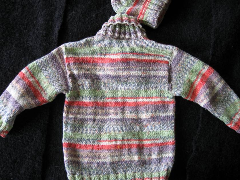 Sweater with cross over collar and beanie to match