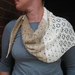 crocheted  womens scarf with daisy pattern