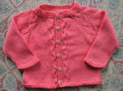 childrens cardigan with cable raglan sleeves