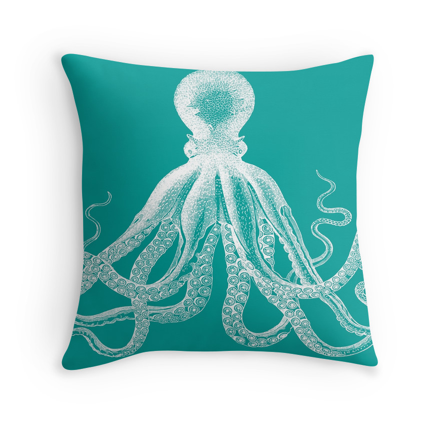 Nautical Coastal Throw Pillows : OCTOPUS Cushion Cover: Octopus Throw Pillow Covers, Nautical Cushions, Nautical Throw Pillows ...