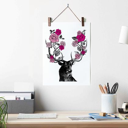 A3 | STAG and ROSES - archival quality giclée art print