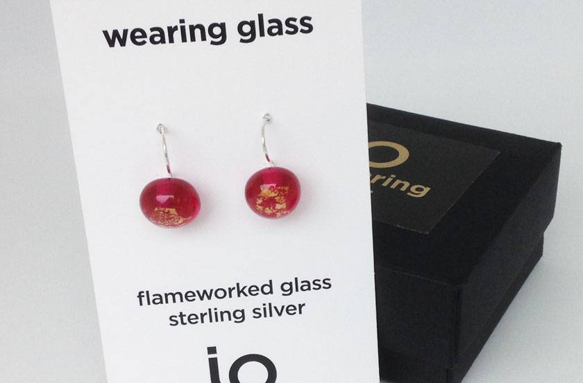 Handmade lampwork glass drops: Light and minimal, glass bead and silver earrings