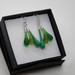 Cluster Earrings in silver and green glass