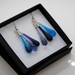 Eardrop Cluster Earrings in silver and blue glass