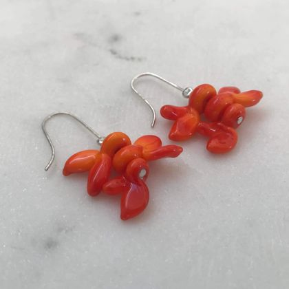 Flower Earrings in silver and orange or red glass
