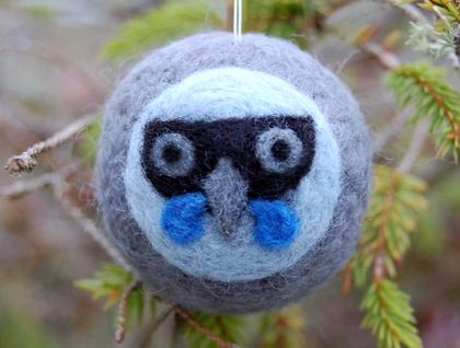 Felted wool decoration - kokako