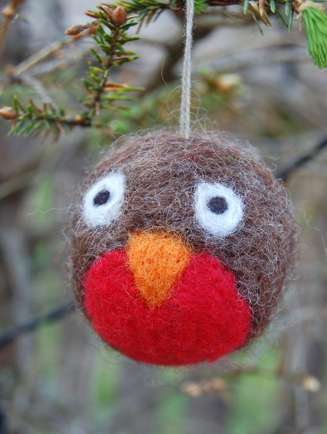 4x felted Christmas decorations - choose from pukeko, robin ...