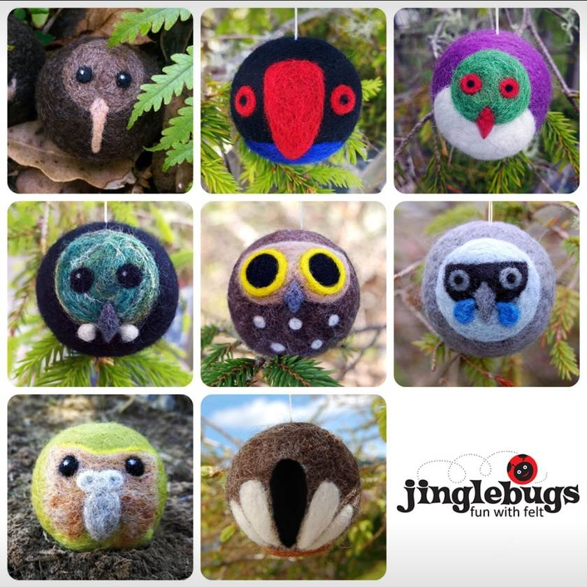 Eight needle-felted decorations - New Zealand birds