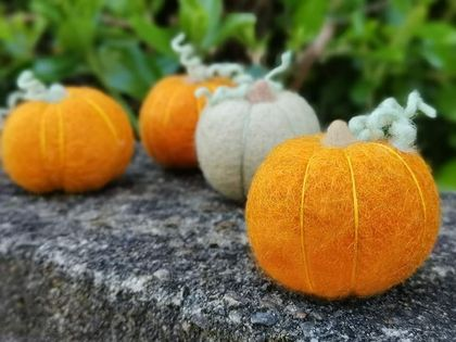 Felted wool pumpkin - orange