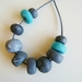 River stones polymer bead necklace