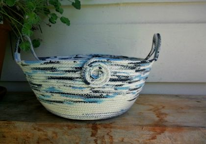 "Coiled rope bowl-""The Blues"""