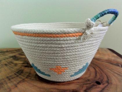 Coiled Rope Basket 'Kilim Bright'