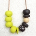 Wasabi and Chocolate big bead necklace with essential oils..
