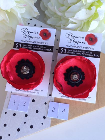 Fabric poppy remembrance brooch