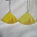 Recycled metal earrings. yellow fan