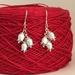 NZ Jasmine (Kaihua) earrings, individually enamelled sterling silver flower earrings with glass beads