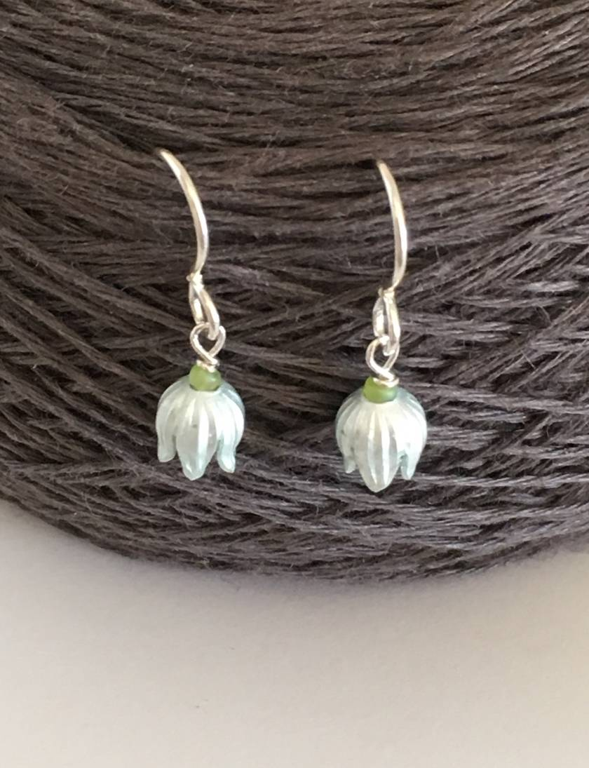 Lily of the valley earrings, individually enamelled sterling silver flower earrings with glass beads