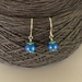 Bluebell earrings, individually enamelled sterling silver flower earrings with glass beads