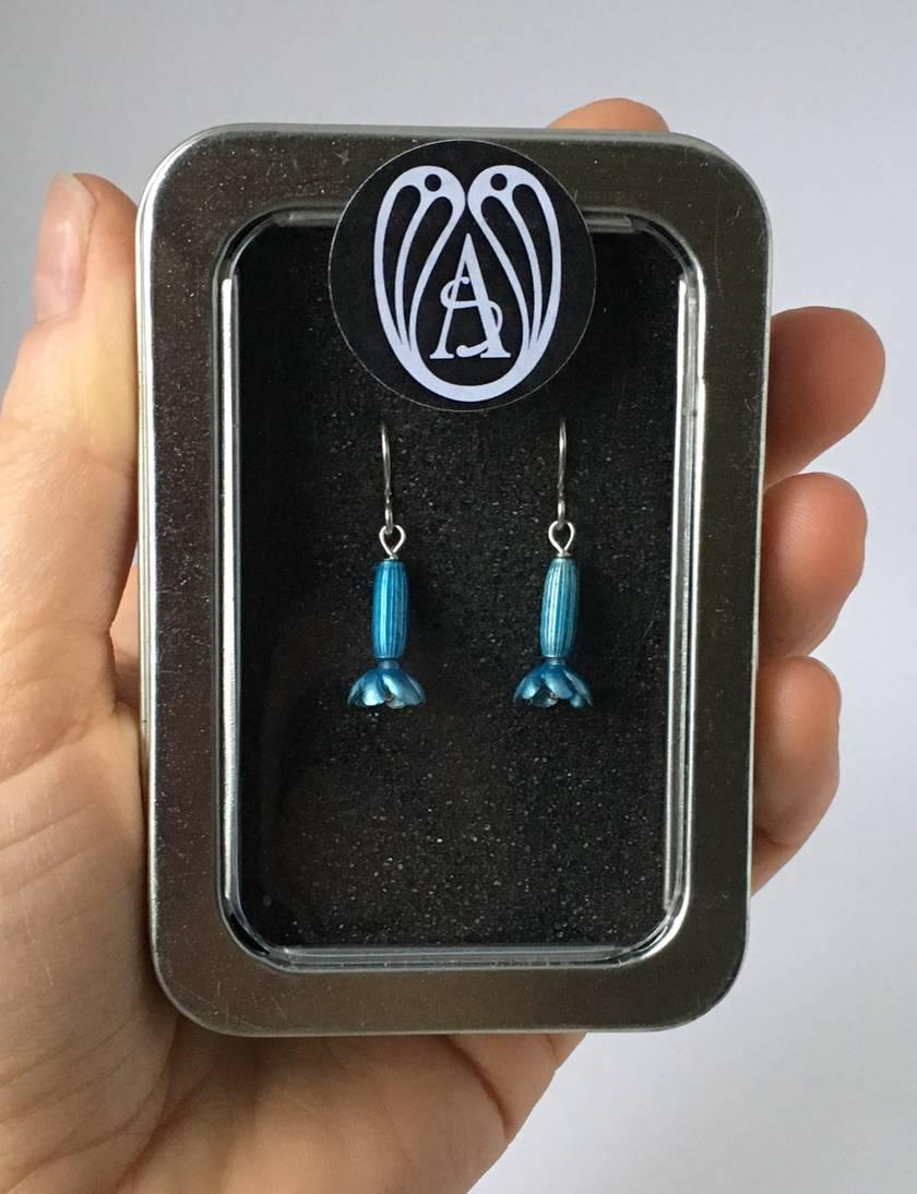 Bluebell (mertensia) earrings, individually enamelled sterling silver flower earrings with glass beads