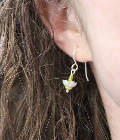 Chamomile flower earrings, individually enamelled sterling silver flower earrings with glass beads