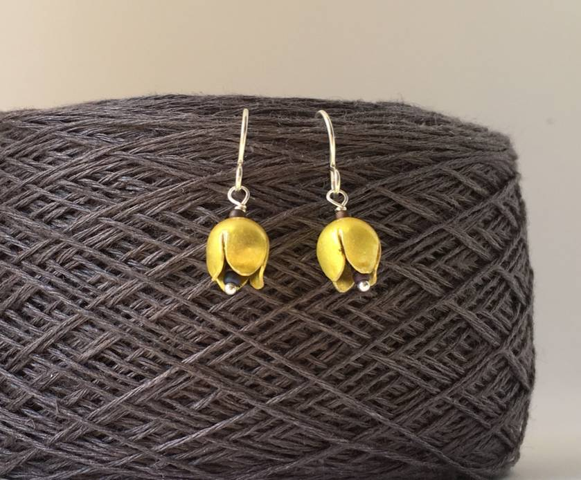 Yellow tulip flower earrings, individually enamelled sterling silver flower earrings with glass beads