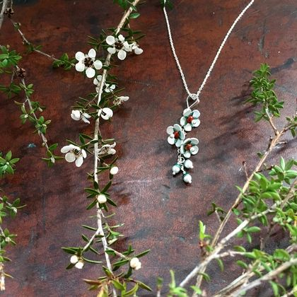 Manuka flower pendant, individually enamelled sterling silver flower necklace