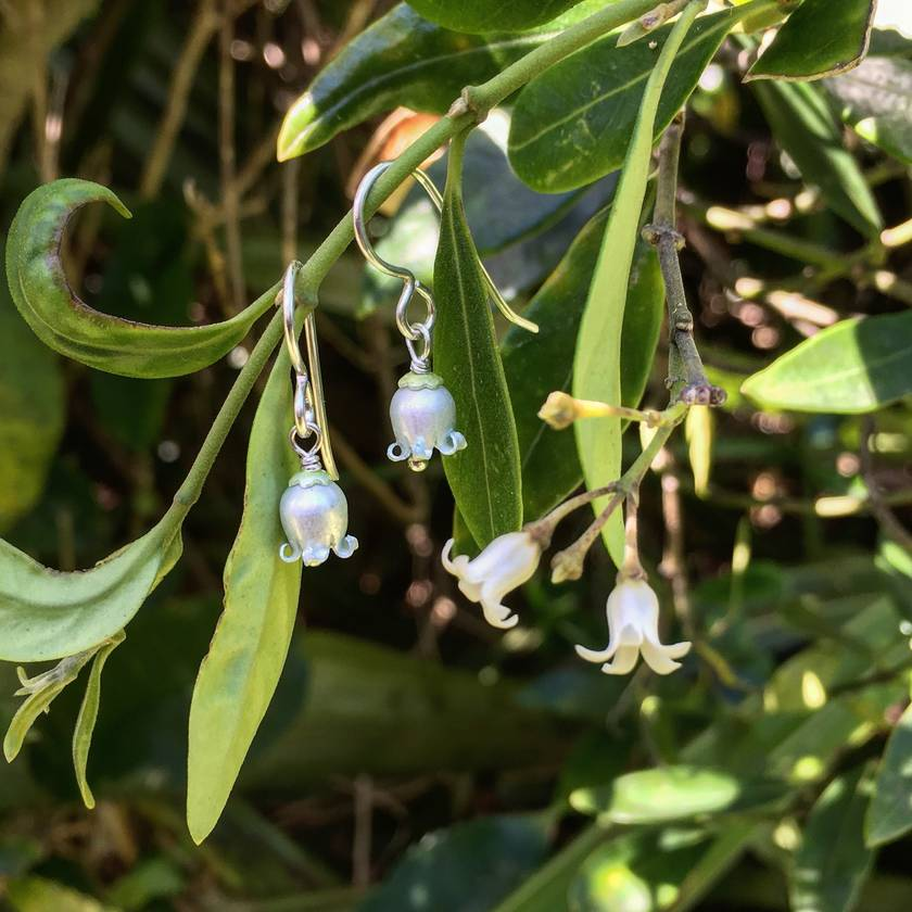 NZ Jasmine (Kaihua) earrings, individually shaped and enamelled sterling silver flower earrings