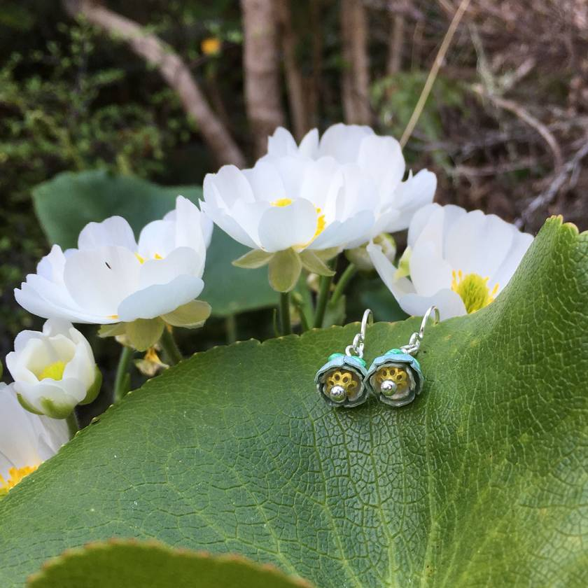 Mount Cook Lily earrings, individually enamelled sterling silver flower earrings