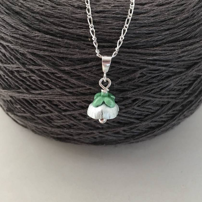 Mount Cook Lily pendant, individually enamelled sterling silver flower necklace