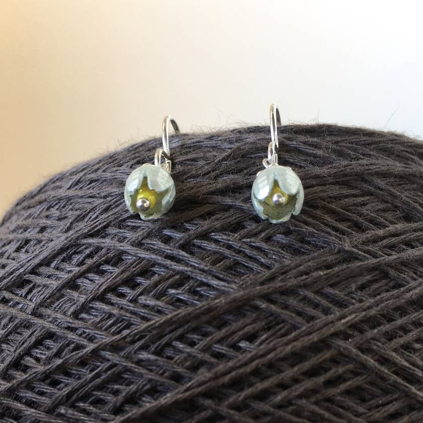 Fritillaria earrings, individually enamelled sterling silver flower earrings with glass beads