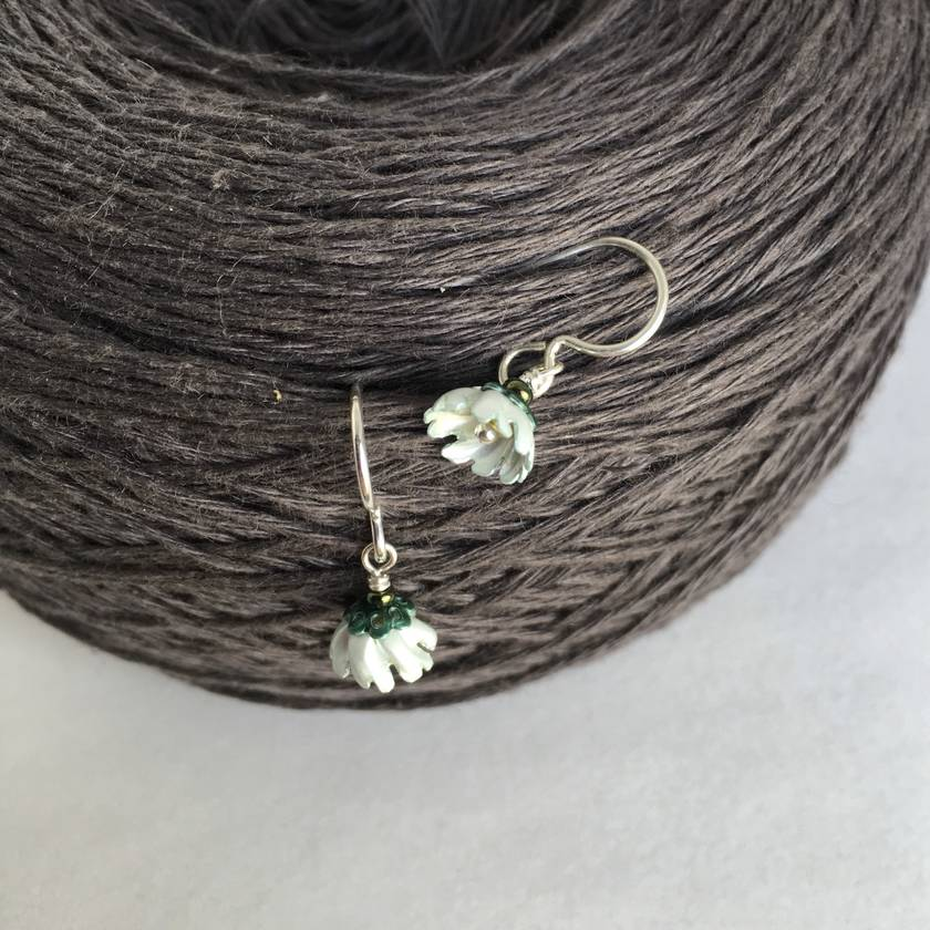 Cosmos flower earrings, individually enamelled sterling silver flower earrings with glass beads