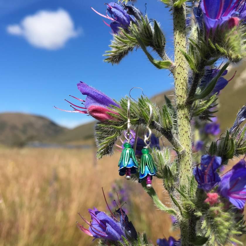 Blue Borage flower earrings, individually enamelled sterling silver flower earrings with glass beads
