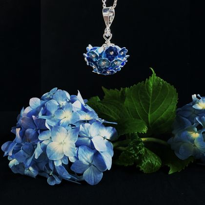 Hydrangea flower pendant, individually enamelled sterling silver flower necklace