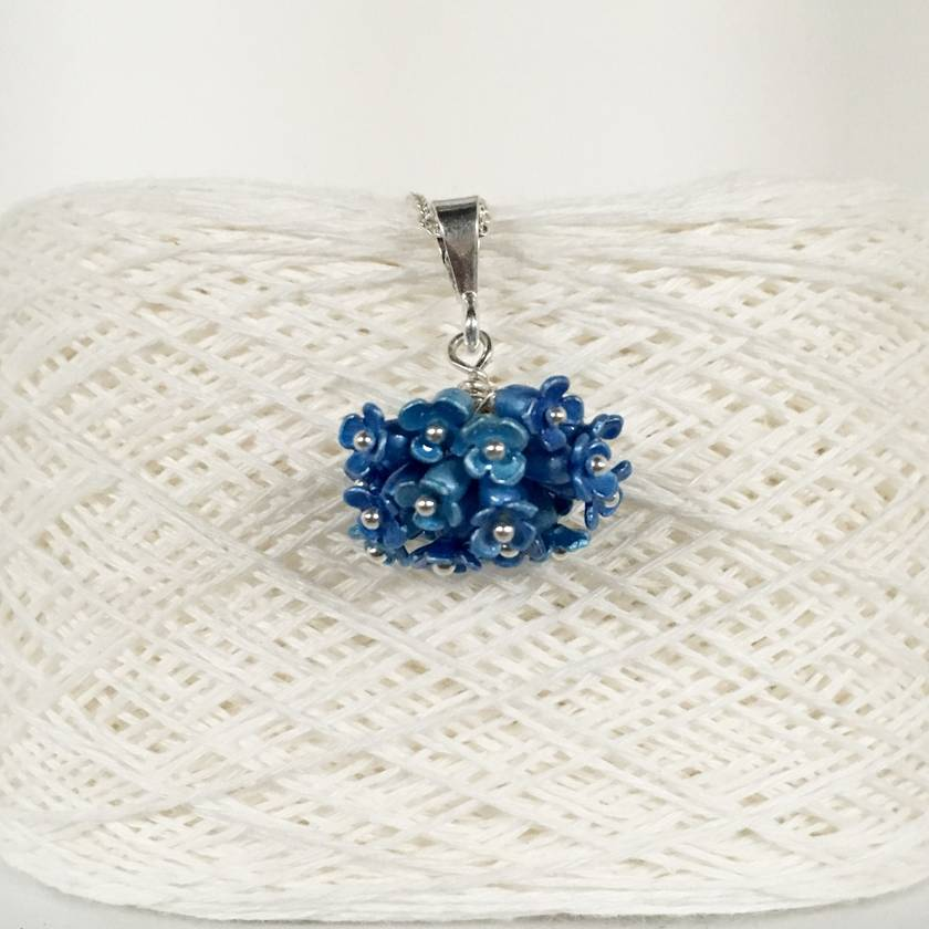 Hydrangea cluster flower pendant, individually enamelled sterling silver flower necklace with glass beads