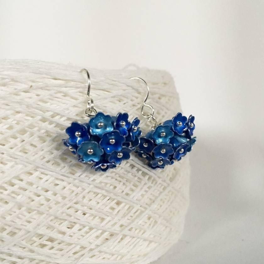 Hydrangea cluster flower earrings, individually enamelled sterling silver flower earrings