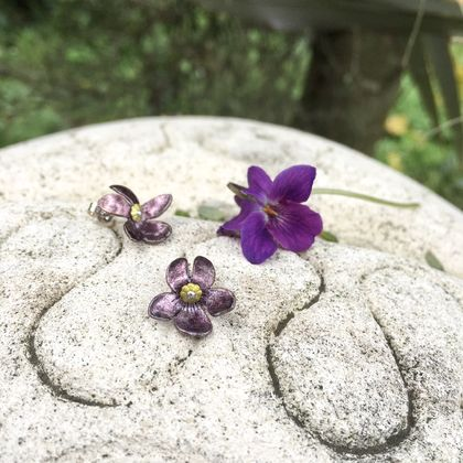 Deep purple sweet violet studs, individually cut, shaped & enamelled fine silver flower earrings